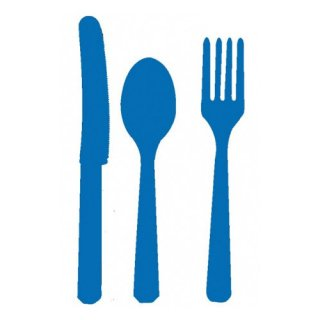 【amscan】カトラリー カトラリーセット ブルー  プラスチック製 ナイフ フォーク スプーン 24本入り 使い捨て【ホームパーティー テーブルコーディネートに】(PG4546.22)
