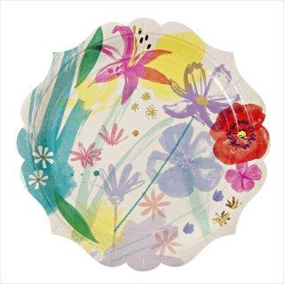 【Meri Meri メリメリ】フラワーペイント ラージペーパープレート 8枚入り【水彩 TOOT SWEET Painted Flowers plate 】(45-1681)