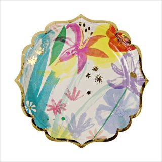 【Meri Meri メリメリ】フラワーペイント スモール ペーパープレート 8枚入り【水彩 TOOT SWEET Painted Flowers plate 】(45-1680)