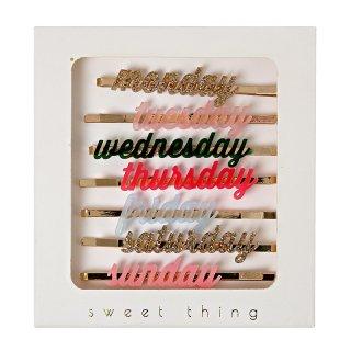 【Meri Meri メリメリ】7DAYS ヘアクリップ MONDAYからSUNDAYまで 1週間分のヘアピン アクセサリー ギフト プレゼント ホワイトデー(50-0031)