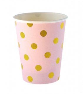 【sambellina】ペーパーカップ ピンク x ゴールド ドット柄 紙カップ 12個入り 【パーティー用 紙コップ】 DOTCUP 誕生日 ホームパーティー イベント 1歳誕生日 (SMC030)