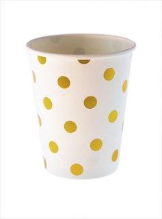 【sambellina】ペーパーカップ ホワイト x ゴールド ドット柄 紙カップ 12個入り 【パーティー用 紙コップ】  誕生日 ホームパーティー イベント 1歳誕生日 (SMC031)