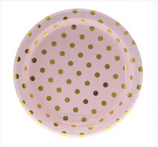 【sambellina】ペーパープレート ピンク x ゴールド ドット柄 紙皿 12枚入り 【パーティー用 プレート】  誕生日 ホームパーティー   1歳誕生日 (SMP0021)SALE