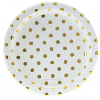 【sambellina】ペーパープレートホワイト x ゴールド ドット柄紙皿12枚入り (SMP0022)