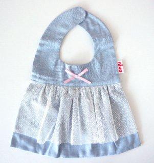 【niva】nivaのおでかけスタイ☆Tull lace derss/ホワイト おしゃれスタイ よだれかけ ビブ 女の子 コットン 赤ちゃん 出産祝い お祝い ベビー
