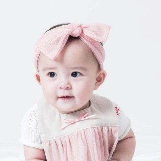 【niva】nivaのおしゃれヘアアクセサリー☆Ribbon band(リボン バンド)/ドットチュール/ピンク ヘアバンド 赤ちゃん ベビー 出産祝い お祝い ギフト プレゼント