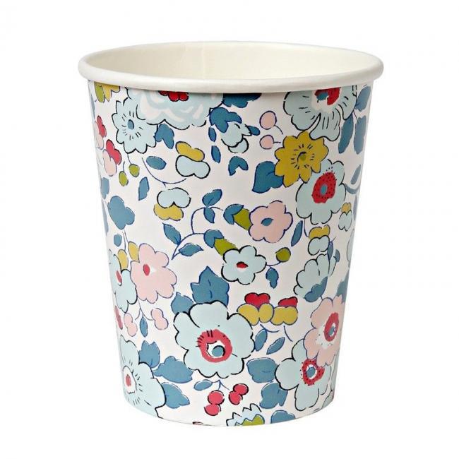【meri meri メリメリ】リバティー柄スモールカップ【ブルー 12個入り】 花柄 小花柄 Liberty print 春 紙コップ パーティーカップ(45-215…