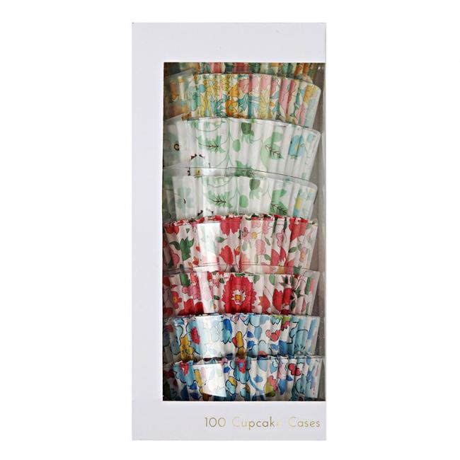 【meri meri メリメリ】リバティー柄カップケーキケース【100枚入り 4柄】 花柄 小花柄 Liberty print 春 カップケーキ お菓子(45-2199)