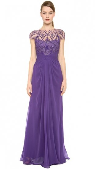 【モンクレール】【Monique Lhuillier】 Embroidered Jewel Neck Draped Gown  / ドレス