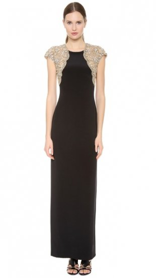 【リームアクラ】【Reem Acra】 Silk Crepe Column Gown  / ドレス