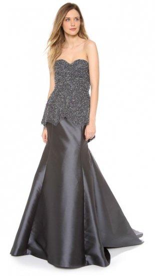 【レス ローズ】【Lela Rose】 Embroidered Peplum Gown  / ドレス