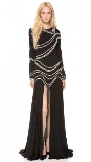 【ジェイアール】【Jay Ahr】 Chain Embroidered Gown with Long Sleeves  / ドレス