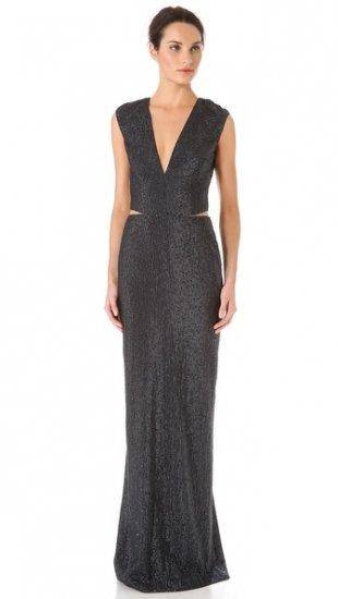 【カウフマン・フランコ】【Kaufman Franco】 Sequins Cap Sleeve Gown  / ドレス