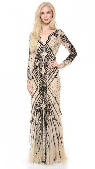 【モンクレール】【Monique Lhuillier】 Beaded Tulle Gown  / ドレス