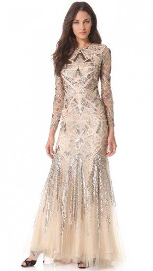 【モンクレール】【Monique Lhuillier】 Embroidered Mesh Gown  / ドレス