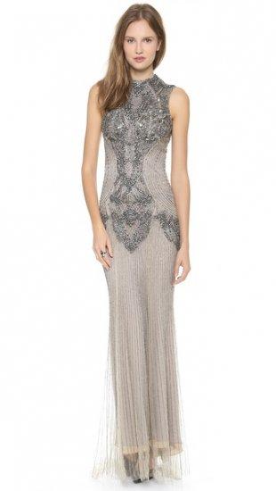 【モンクレール】【Monique Lhuillier】 Sleeveless Gown with High Neck  / ドレス