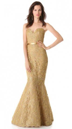 【リームアクラ】【Reem Acra】 Metallic Lace Strapless Gown  / ドレス