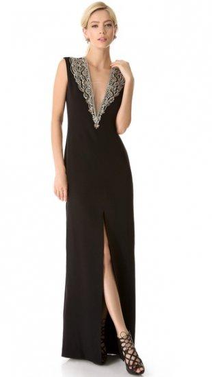 【リームアクラ】【Reem Acra】 Sleeveless Plunge Neck Gown  / ドレス