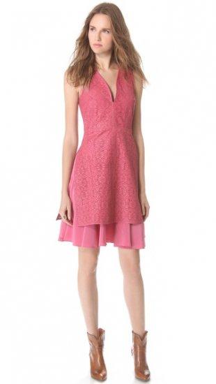 【タクーン】【Thakoon】 Laser Cut Leather V Neck Dress  / ドレス