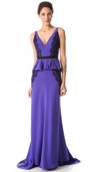 【ジェイ メンデル】【J. Mendel】J  Mendel Deep V Gown with Draped Peplum  / ドレス