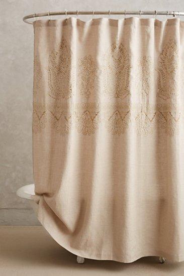 【アンソロポロジー】【Anthropologie】Embroidered Linen Shower Curtain