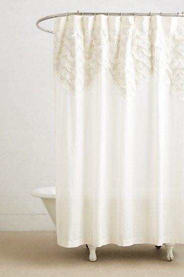 【アンソロポロジー】【Anthropologie】Scallop-Sequence Shower Curtain