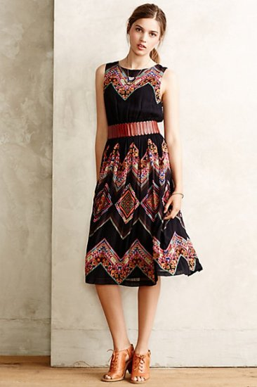 【アンソロポロジー】【Anthropologie】Patchworked Chevron Midi Dress