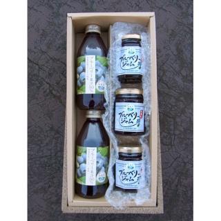 ブルーベリー果汁50%ジュース(250ml)とジャムのセット