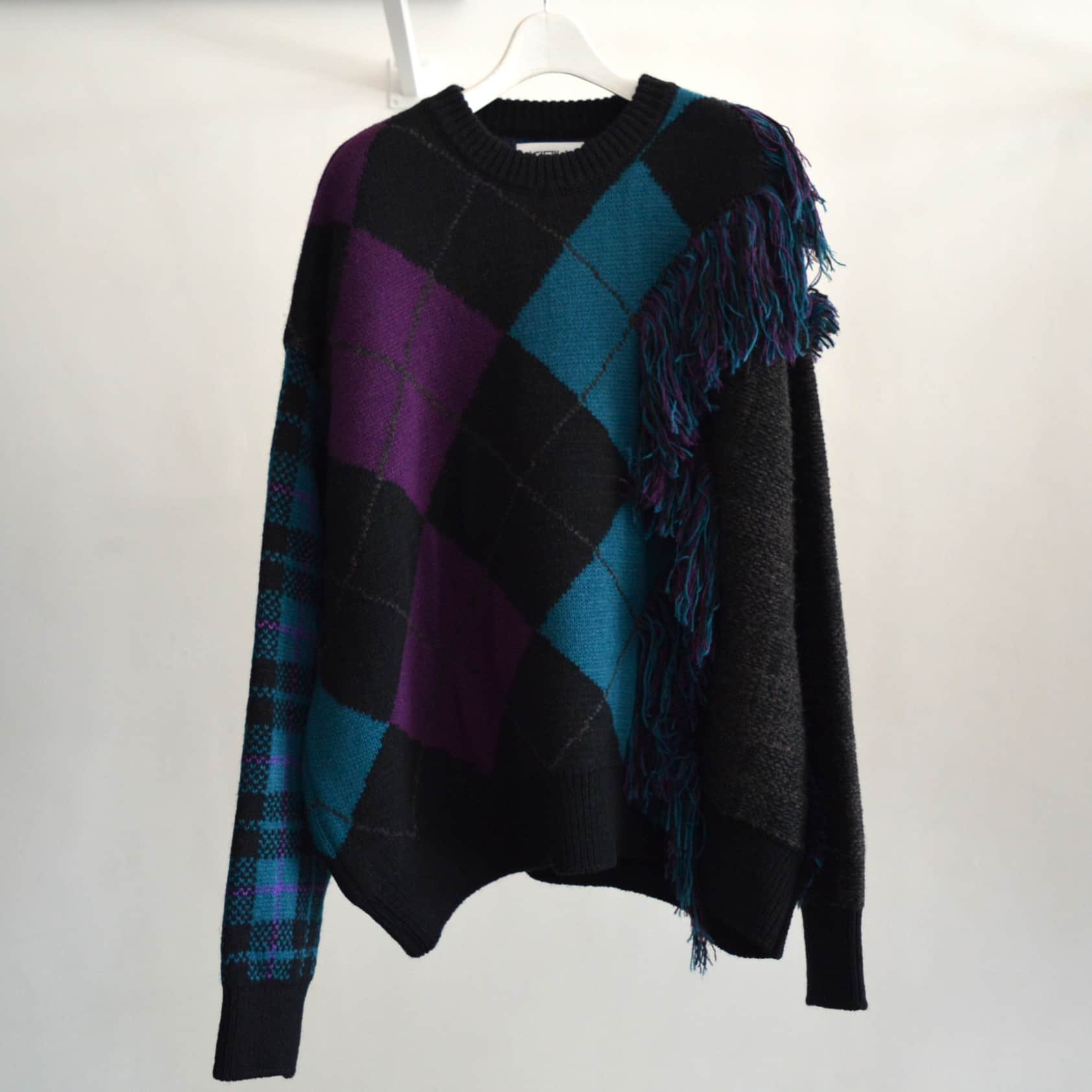【KIDILL×rurumu:】Destroy Argyle Tartan Pullover Knit