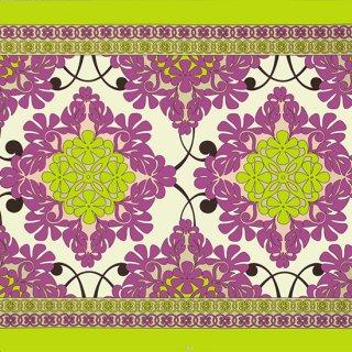 クリーム色と紫のハワイア...