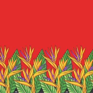 赤のハワイアンファブリッ...