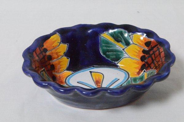 ラタベラ焼 オーバルプレート『白い花』(グァナファト産)