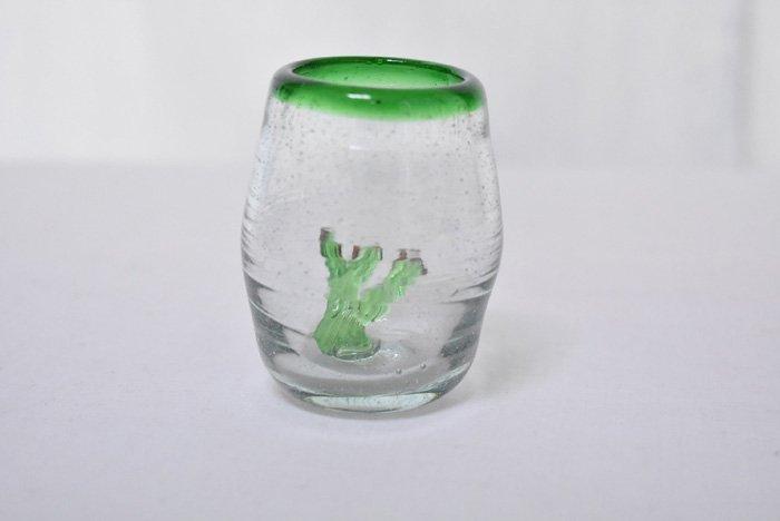 手吹ショットグラス/うちわサボテン(円形緑)