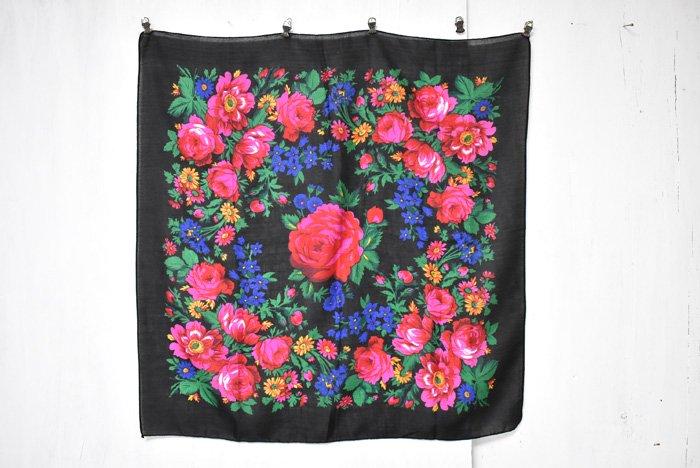 オアハカ花柄スカーフ『ブラック』