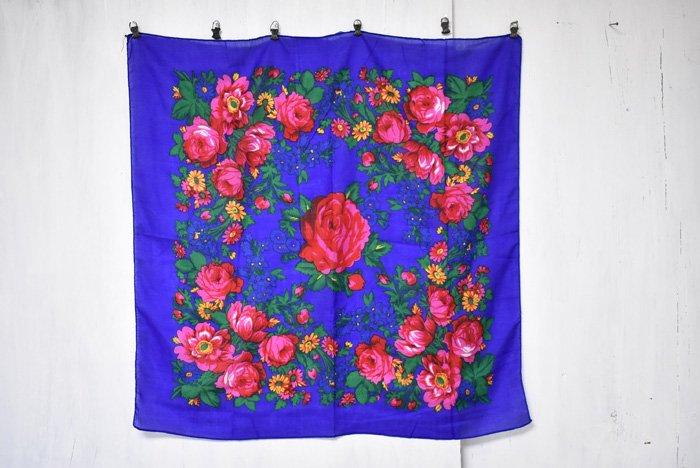 オアハカ花柄スカーフ『ブルー』
