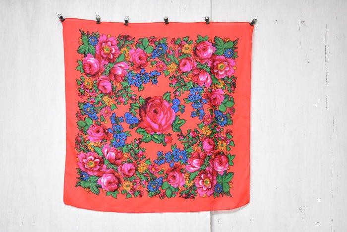 オアハカ花柄スカーフ『エンジ』