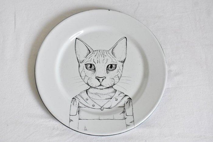 ホーロープレート『猫』【ヴィンテージ】