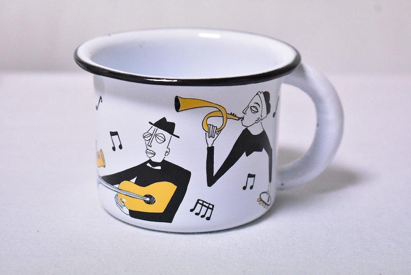 ホーローマグカップ『ジャズ』☆ホワイト【ヴィンテージ】