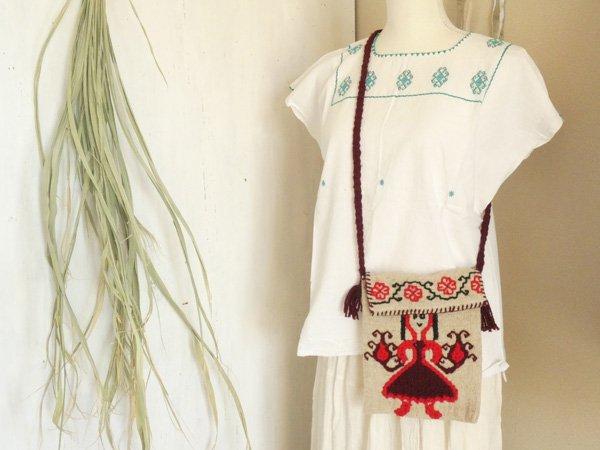 メキシコシティ発手織り刺繍ショルダーバッグ☆花と女の子