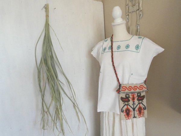 メキシコシティ発手織りレトロ刺繍ポシェット☆鳥模様