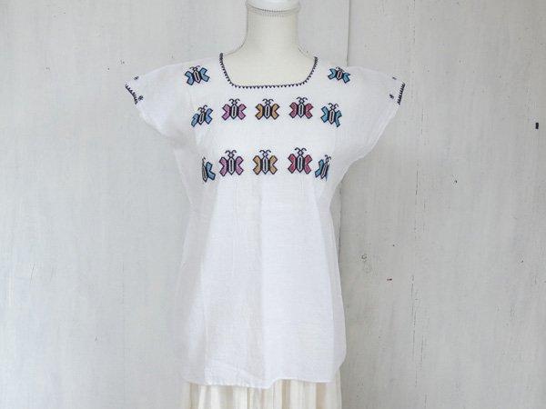 チアパス刺繍ウィピルEホワイト