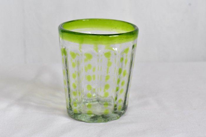 手吹きグラス『水玉』(緑)