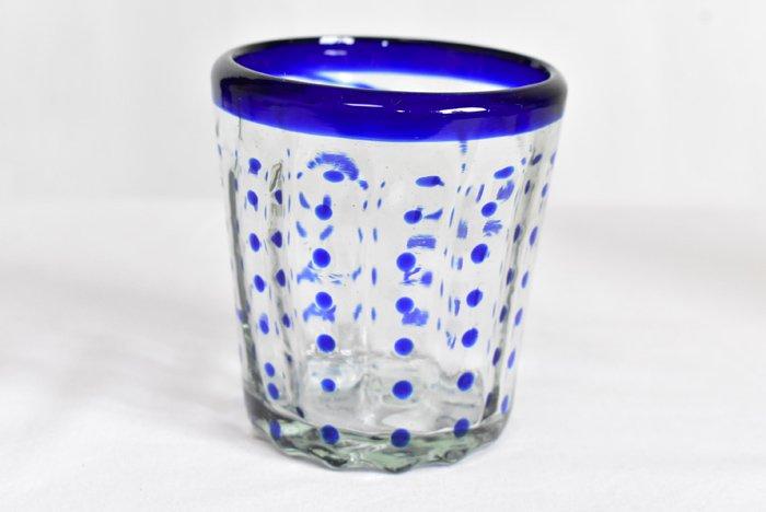 手吹きグラス『水玉』(青)