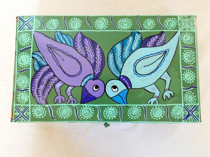 ミティラーブリキボックス☆長方形 踊る鳥たち