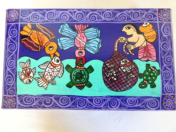 ミティラーブリキボックス☆長方形 魚捕りのお手伝い