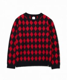 """<img class='new_mark_img1' src='https://img.shop-pro.jp/img/new/icons49.gif' style='border:none;display:inline;margin:0px;padding:0px;width:auto;' />BEDWIN <BR>C-NECK JACQUARD KNIT SWEATER""""WRIGHT"""" (RED) SOLD OUT"""