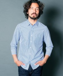 <img class='new_mark_img1' src='https://img.shop-pro.jp/img/new/icons34.gif' style='border:none;display:inline;margin:0px;padding:0px;width:auto;' />Magine <BR>CTN BROAD STRIPE SHIRTS 3/4 SLEEVE (BLUE)