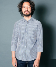 <img class='new_mark_img1' src='https://img.shop-pro.jp/img/new/icons34.gif' style='border:none;display:inline;margin:0px;padding:0px;width:auto;' />Magine <BR>CTN BROAD STRIPE SHIRTS 3/4 SLEEVE (NAVY)