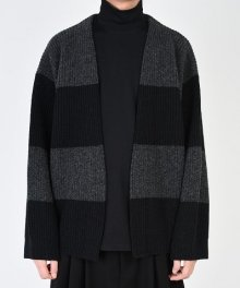 <img class='new_mark_img1' src='https://img.shop-pro.jp/img/new/icons8.gif' style='border:none;display:inline;margin:0px;padding:0px;width:auto;' />LAD MUSICIAN <BR>STITCH BORDER KNIT CARDIGAN (CHARCOAL×BLACK)