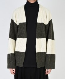<img class='new_mark_img1' src='https://img.shop-pro.jp/img/new/icons49.gif' style='border:none;display:inline;margin:0px;padding:0px;width:auto;' />LAD MUSICIAN <BR>STITCH BORDER KNIT CARDIGAN (KHAKI×WHITE) SOLD OUT